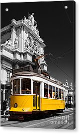 Lisbon's Typical Yellow Tram In Commerce Square Acrylic Print by Jose Elias - Sofia Pereira