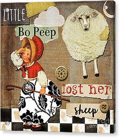 Little Bo Peep Nursery Rhyme Acrylic Print by Mindy Sommers