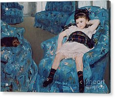 Little Girl In A Blue Armchair Acrylic Print by Mary Stevenson Cassatt