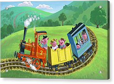 Little Happy Pigs On Train Journey Acrylic Print by Martin Davey