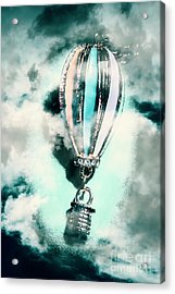 Little Hot Air Balloon Pendant And Clouds Acrylic Print by Jorgo Photography - Wall Art Gallery
