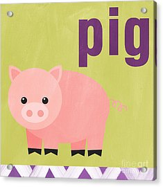 Little Pig Acrylic Print by Linda Woods