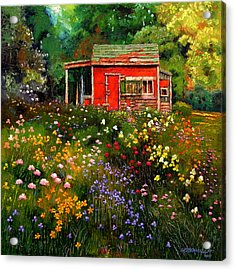 Little Red Flower Shed Acrylic Print by John Lautermilch