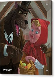 Little Red Riding Hood With Nasty Wolf Acrylic Print by Martin Davey