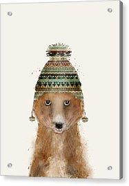 Little Winter Fox Acrylic Print by Bri B