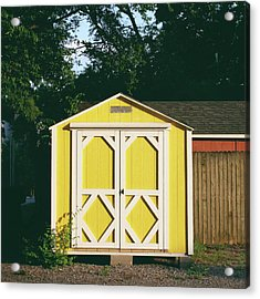 Little Yellow Barn- By Linda Woods Acrylic Print by Linda Woods