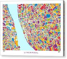 Liverpool England City Street Map Acrylic Print by Michael Tompsett