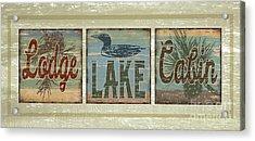 Lodge Lake Cabin Sign Acrylic Print by Joe Low