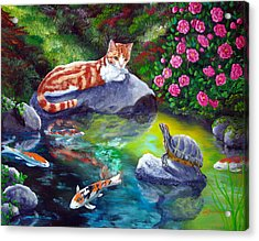 Loki Meets A Turtle Acrylic Print by Laura Iverson