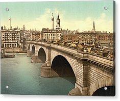 London Bridge Across The Thames River Acrylic Print by Vintage Design Pics