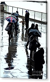 London In The Rain Acrylic Print by Andrew Michael