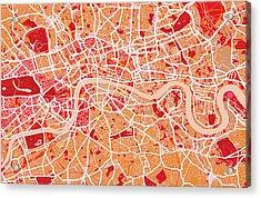 London Map Art Red Acrylic Print by Michael Tompsett