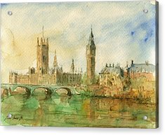 London Parliament Acrylic Print by Juan  Bosco