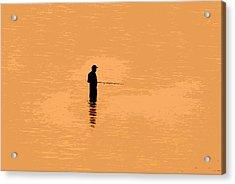 Lone Fisherman Acrylic Print by David Lee Thompson