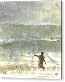 Lone Fisherman Four Acrylic Print by Lincoln Seligman