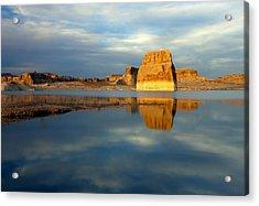 Lone Rock Glow Acrylic Print by Mike  Dawson