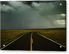 Long And Winding Road Against Lighting Strike Acrylic Print by DaveArnoldPhoto.com