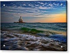 Long Beach Bar Lighthouse Acrylic Print by Rick Berk