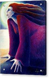 Look To The Moon Acrylic Print by Angela Treat Lyon