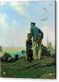 Looking Out To Sea Acrylic Print by Norman Rockwell