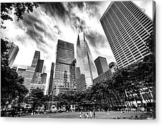 Looking Up In Bryant Park Acrylic Print by John Rizzuto