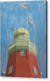 Looking Up Portland Observatory Acrylic Print by Dominic White