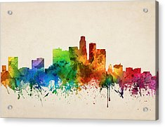 Los Angeles California Skyline 05 Acrylic Print by Aged Pixel