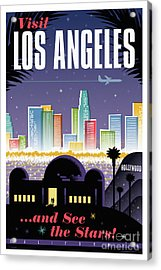 Los Angeles Retro Travel Poster Acrylic Print by Jim Zahniser