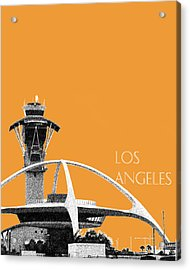 Los Angeles Skyline Lax Spider - Orange Acrylic Print by DB Artist