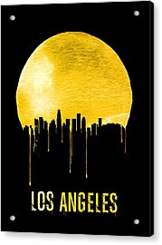 Los Angeles Skyline Yellow Acrylic Print by Naxart Studio