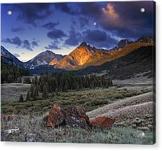Lost River Mountains Moon Acrylic Print by Leland D Howard
