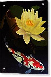 Lotus And Koi- Plant And Animal Painting Acrylic Print by Glenn Ledford