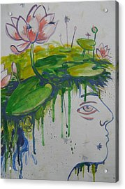 Lotus Head Acrylic Print by Tilly Strauss