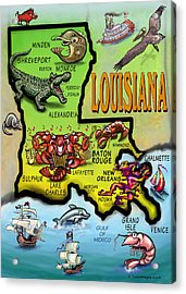Louisiana Cartoon Map Acrylic Print by Kevin Middleton