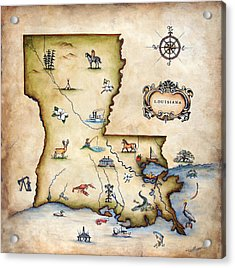 Louisiana Map Acrylic Print by Judy Merrell