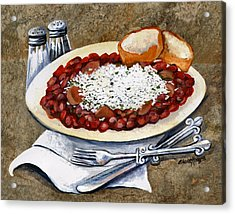 Louisiana Red Beans And Rice Acrylic Print by Elaine Hodges