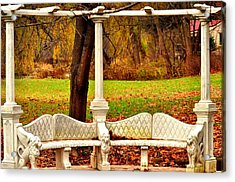 Love Bench Acrylic Print by Puzzles Shum