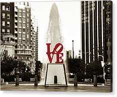 Love In Philadelphia Acrylic Print by Bill Cannon