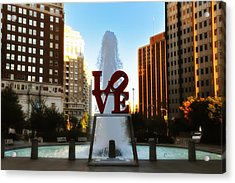 Love Park - Love Conquers All Acrylic Print by Bill Cannon