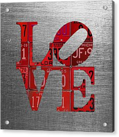 Love Sign Philadelphia Recycled Red Vintage License Plates On Aluminum Sheet Acrylic Print by Design Turnpike