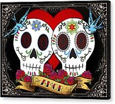 Love Skulls II Acrylic Print by Tammy Wetzel