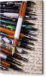 Lovely Fountain Pens Acrylic Print by Garry Gay