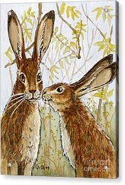Lovely Rabbits - Little Kiss  Acrylic Print by Svetlana Ledneva-Schukina