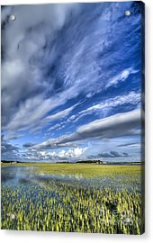 Lowcountry Flood Tide And Clouds Acrylic Print by Dustin K Ryan