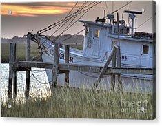 Lowcountry Shrimp Boat Sunset Acrylic Print by Dustin K Ryan