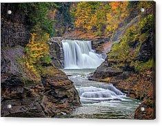 Lower Falls In Autumn Acrylic Print by Rick Berk