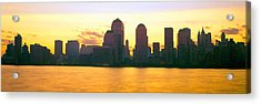 Lower Manhattan Skyline At Sunrise Acrylic Print by Panoramic Images