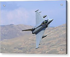 Lowflying Typhoon In The Welsh Hills 01 Acrylic Print by Barry Culling