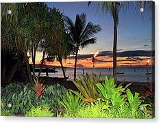 Luau Sunset Maui Acrylic Print by Pierre Leclerc Photography