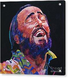 Luciano Pavrotti Acrylic Print by David Lloyd Glover